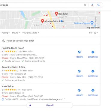 nalu salon google map pack for balayage